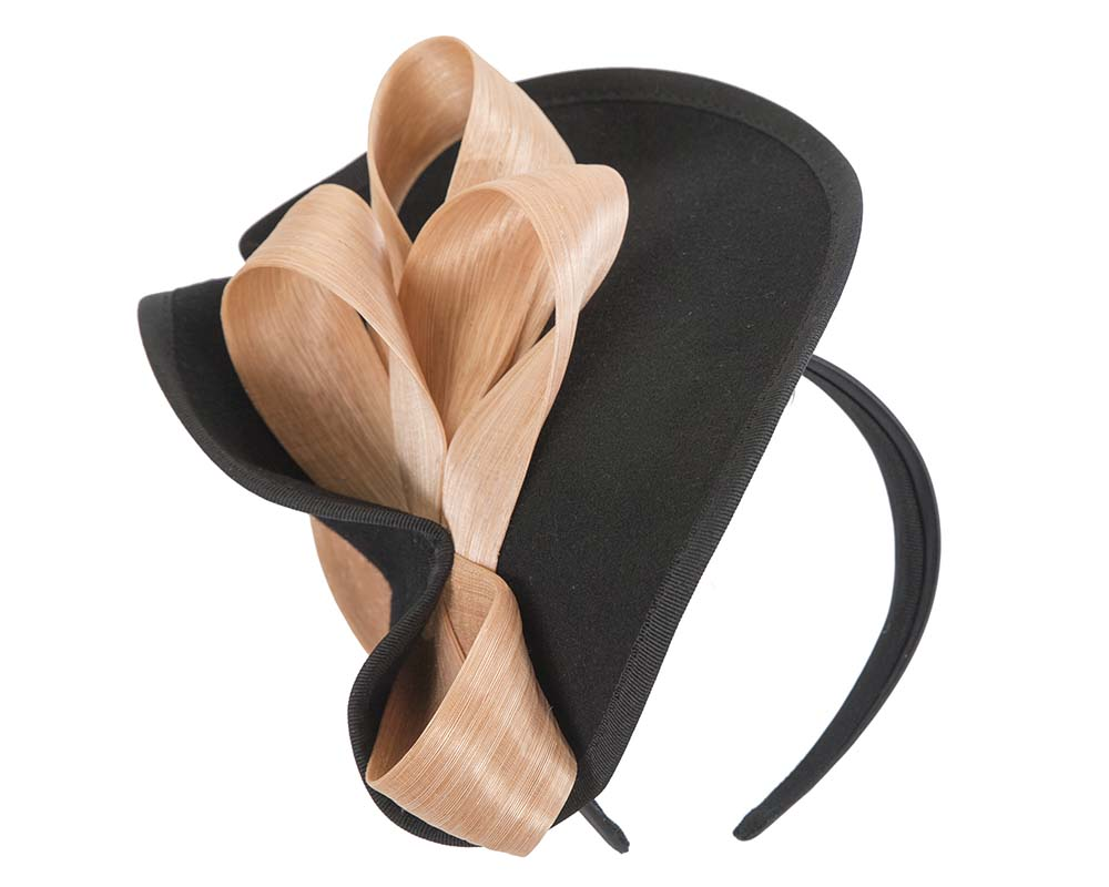 Fascinators Online - Black felt twist with nude bow by Fillies Collection 2