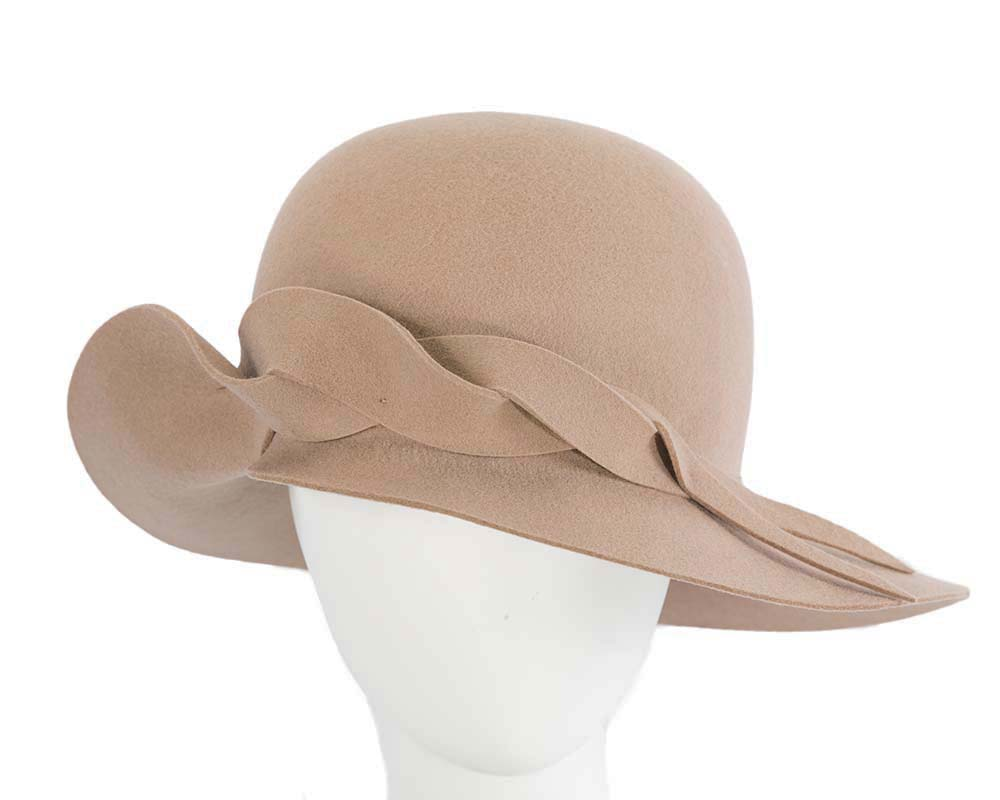 Fascinators Online - Unusual beige felt wide brim hat by Max Alexander 12