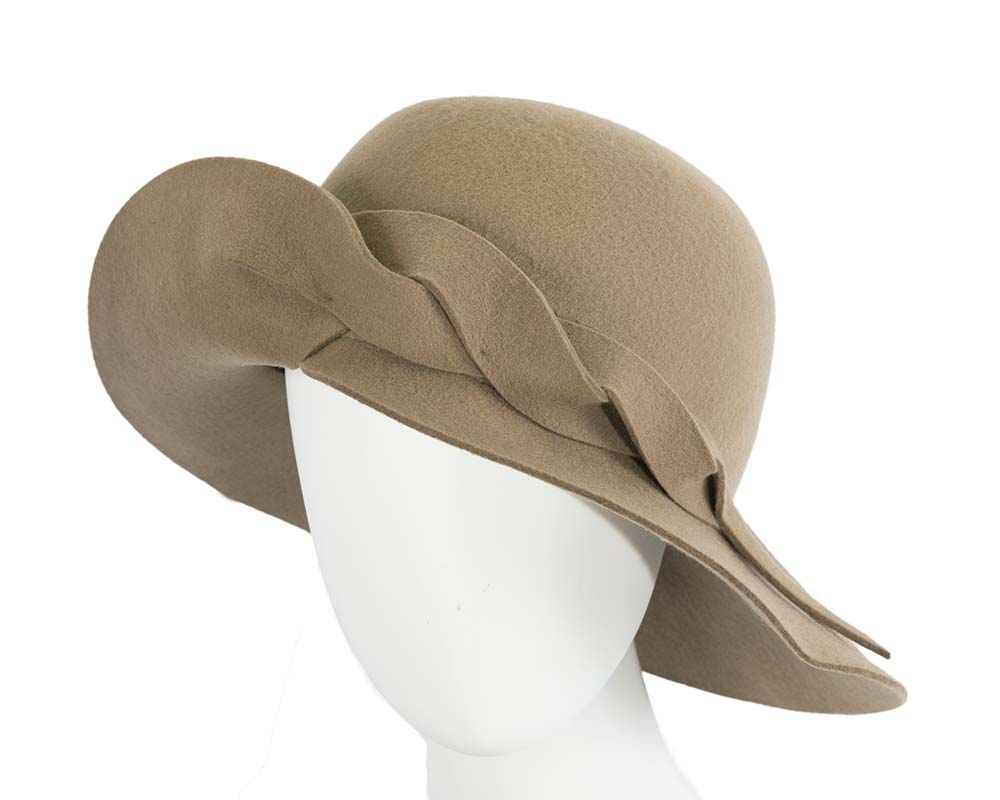 Fascinators Online - Unusual camel felt wide brim hat by Max Alexander 13