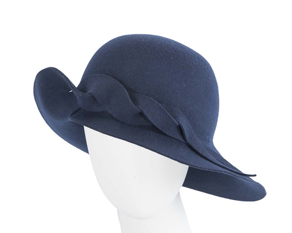 Fascinators Online - Unusual navy felt wide brim hat by Max Alexander 25