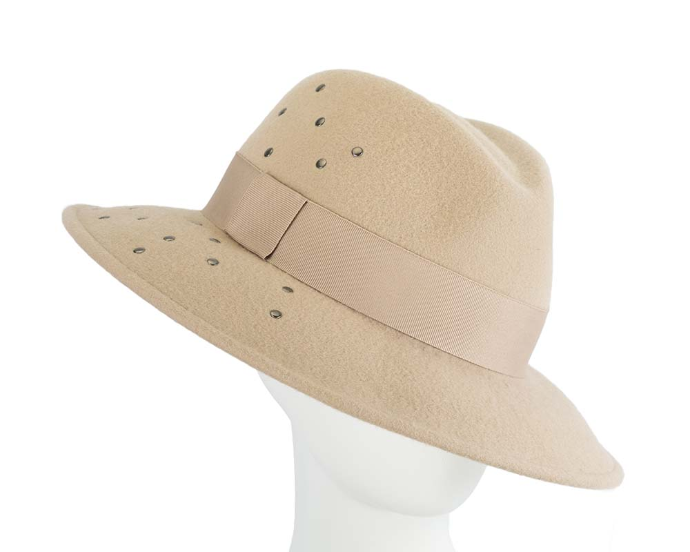 Fascinators Online - Wide brim beige felt fedora hat by Max Alexander 17
