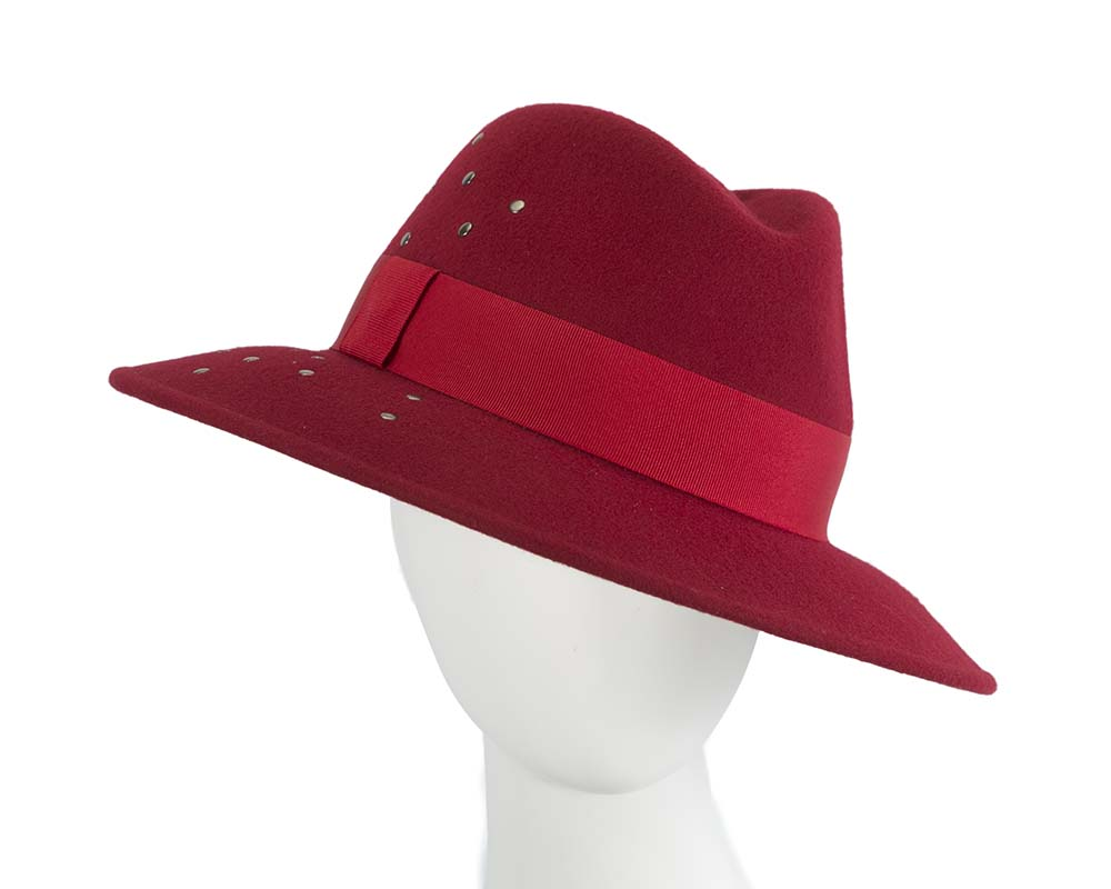 Fascinators Online - Wide brim dark red felt fedora hat by Max Alexander 11
