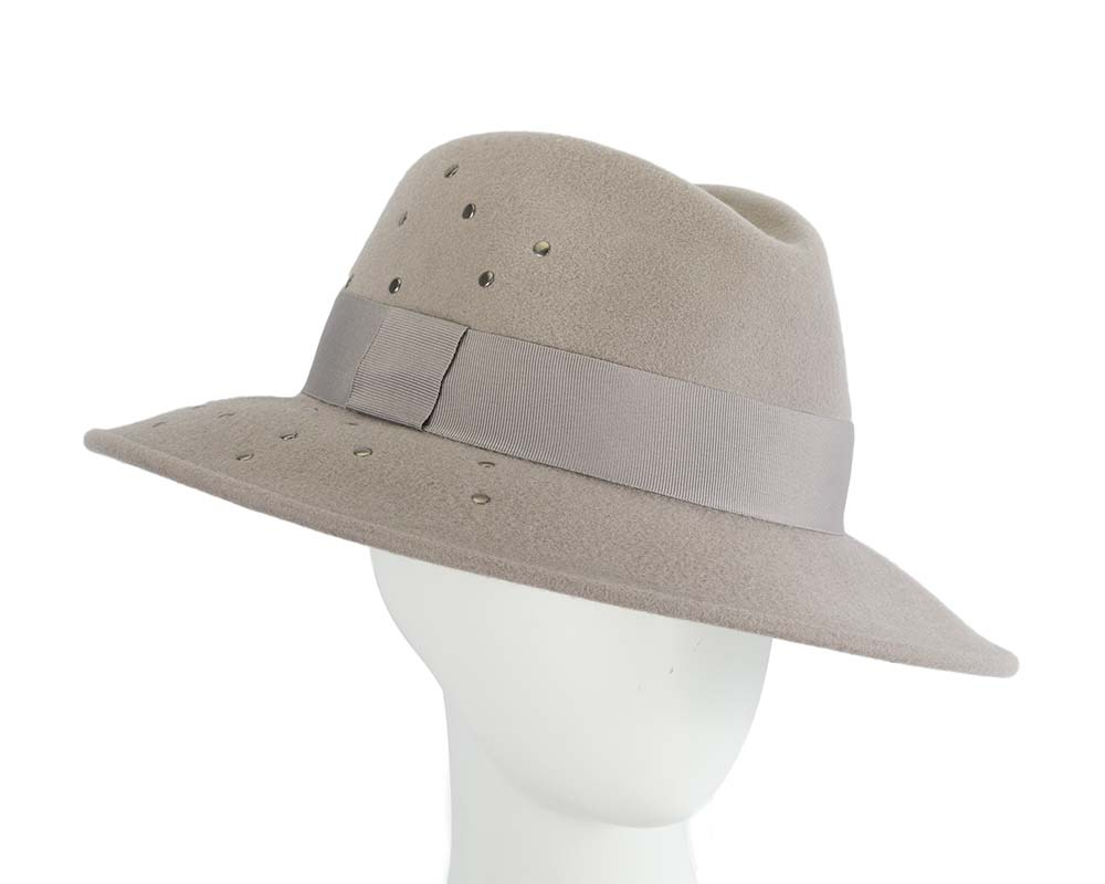 Fascinators Online - Wide brim grey felt fedora hat by Max Alexander 16