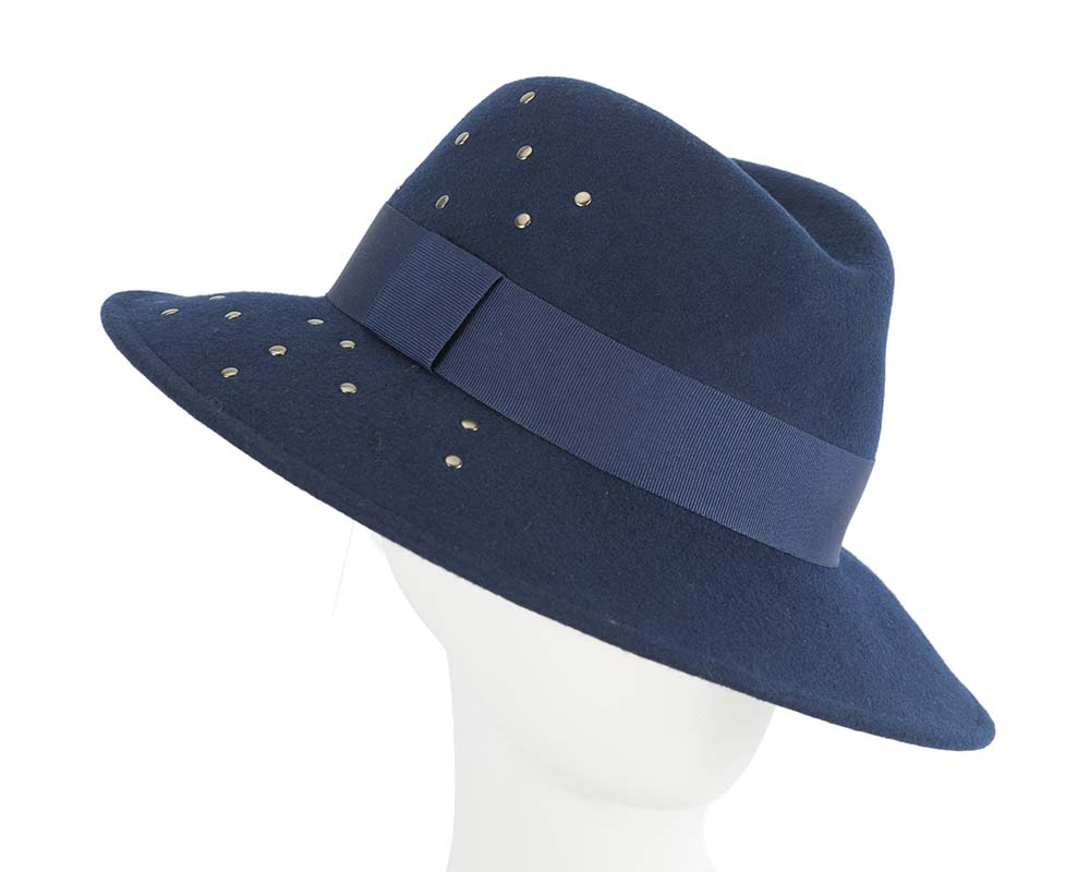 Fascinators Online - Wide brim navy felt fedora hat by Max Alexander 21