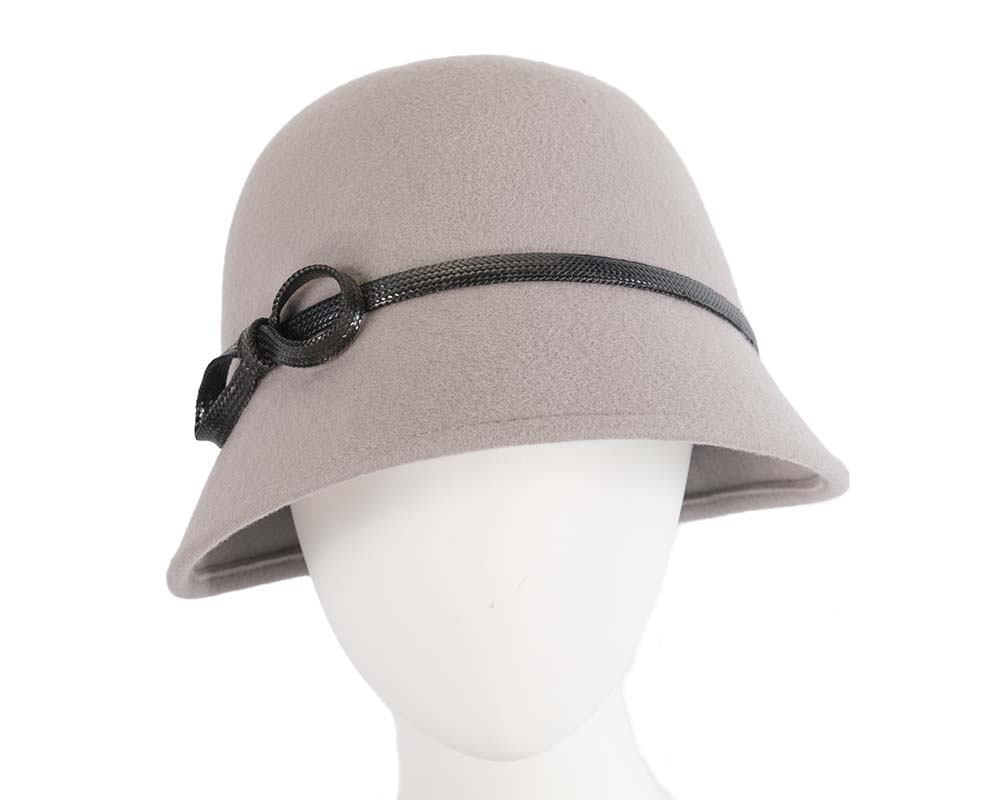 Fascinators Online - Grey felt cloche hat by Max Alexander 14