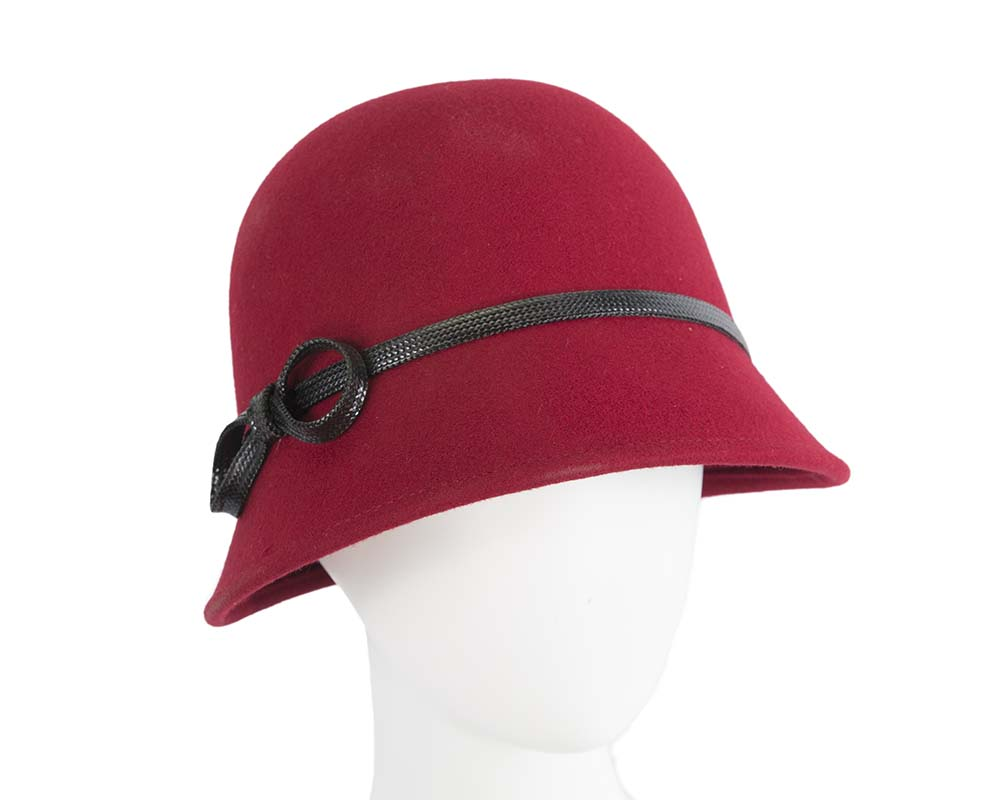 Fascinators Online - Red felt cloche hat by Max Alexander 19