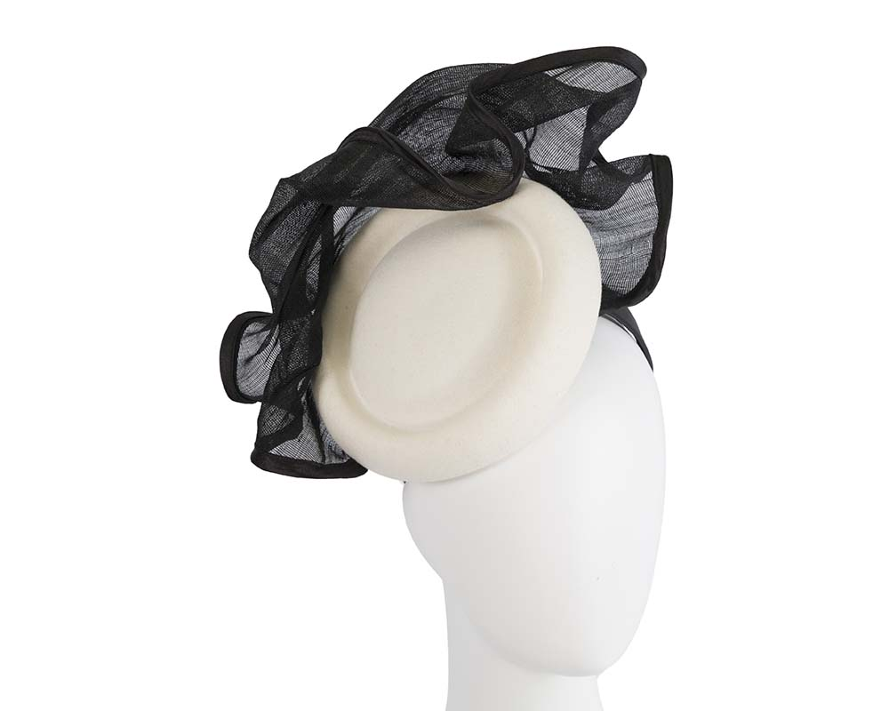 Fascinators Online - Exclusive cream & black winter fascinator by Fillies Collection 7