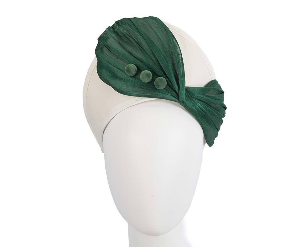 Fascinators Online - Cream & green felt crown fascinator by Fillies Collection 8