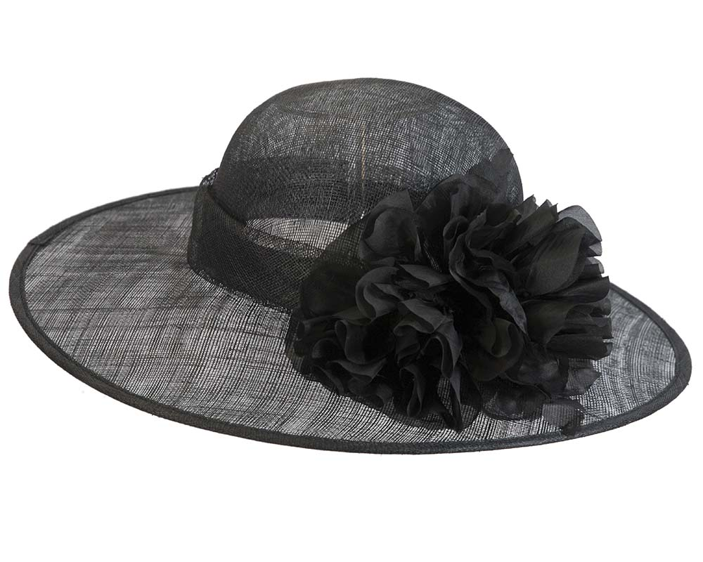 Fascinators Online - Black ladies sinamay racing hat with flower by Max Alexander 3