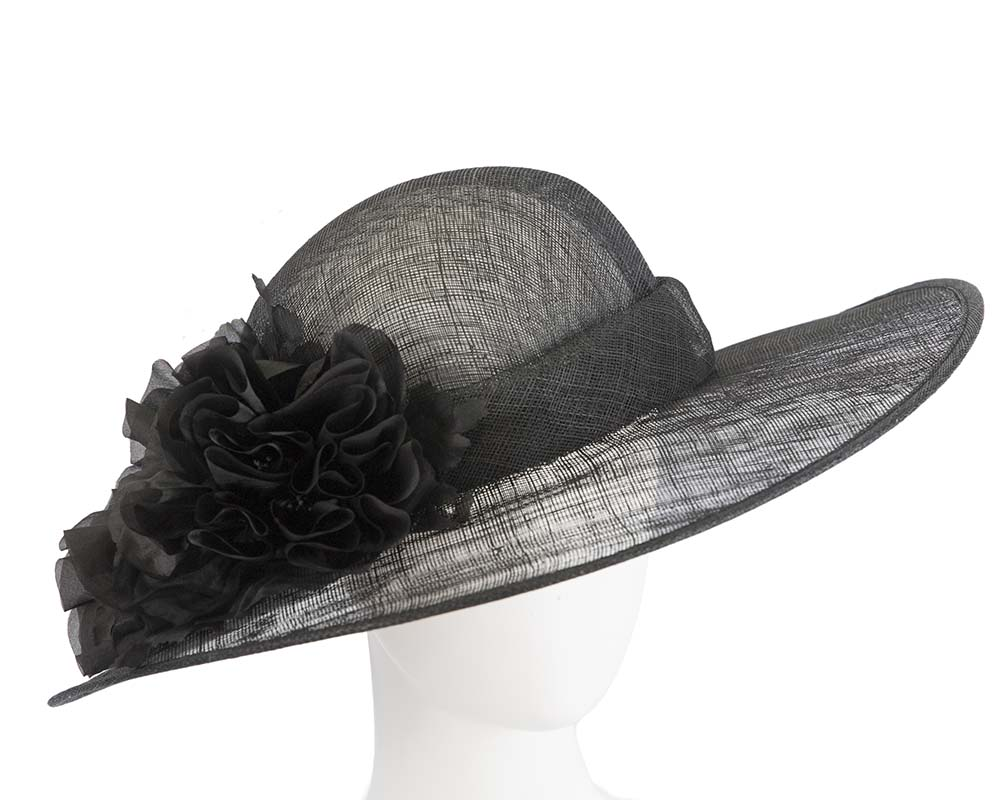 Fascinators Online - Black ladies sinamay racing hat with flower by Max Alexander 1