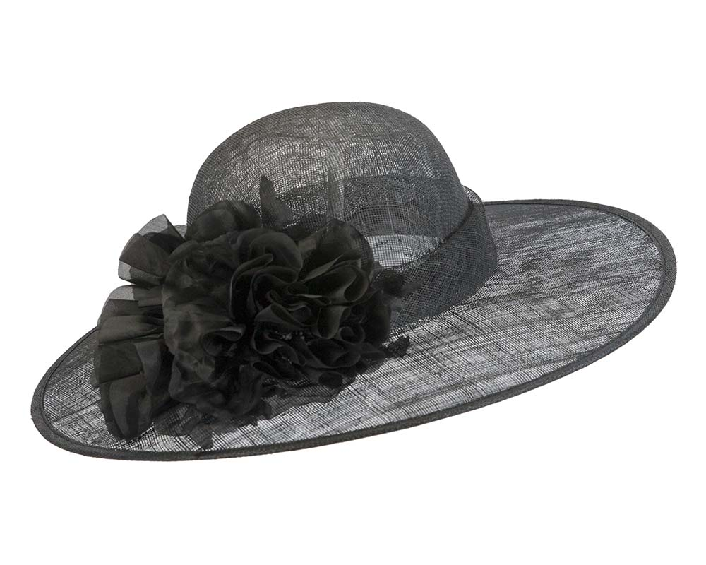 Fascinators Online - Black ladies sinamay racing hat with flower by Max Alexander 2