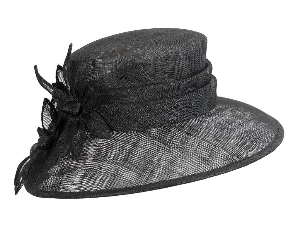 Fascinators Online - Large traditional black racing hat by Max Alexander 2