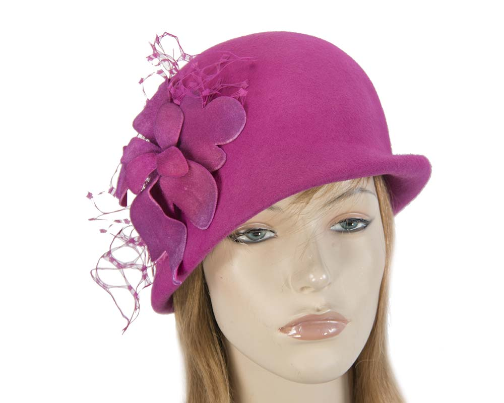 Fascinators Online - Fuchsia felt bucket hat from Fillies Collection 8