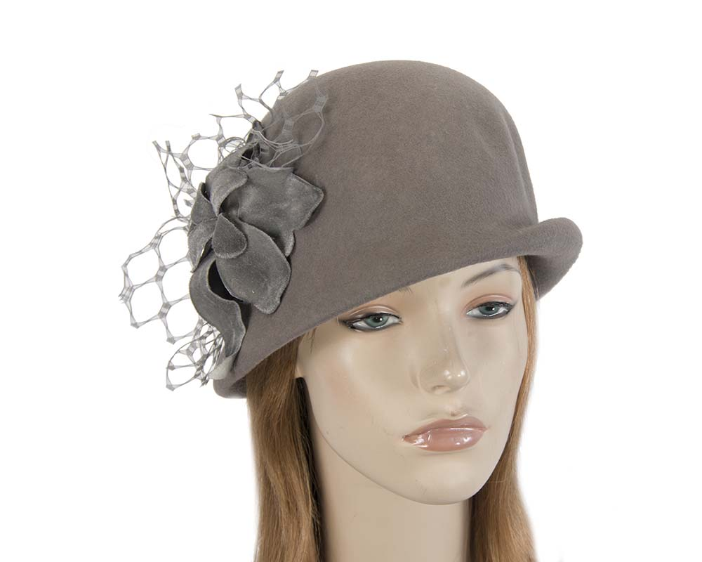 Fascinators Online - Grey felt bucket hat from Fillies Collection 8