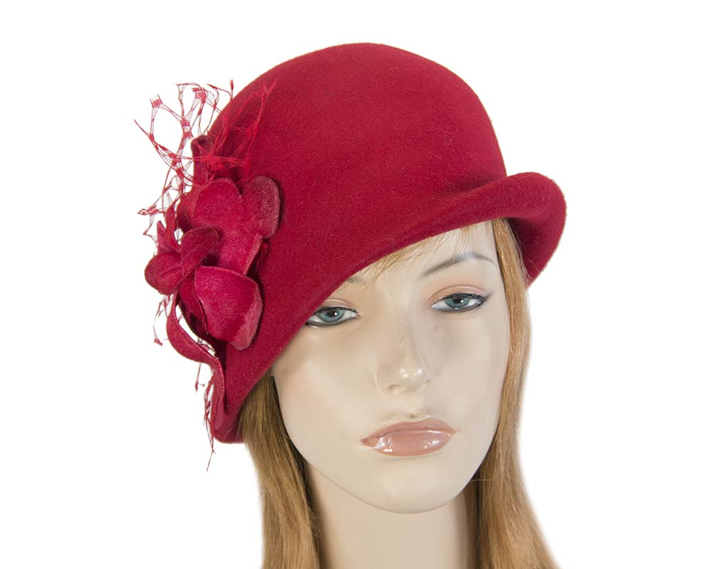 Fascinators Online - Red felt bucket hat from Fillies Collection 9