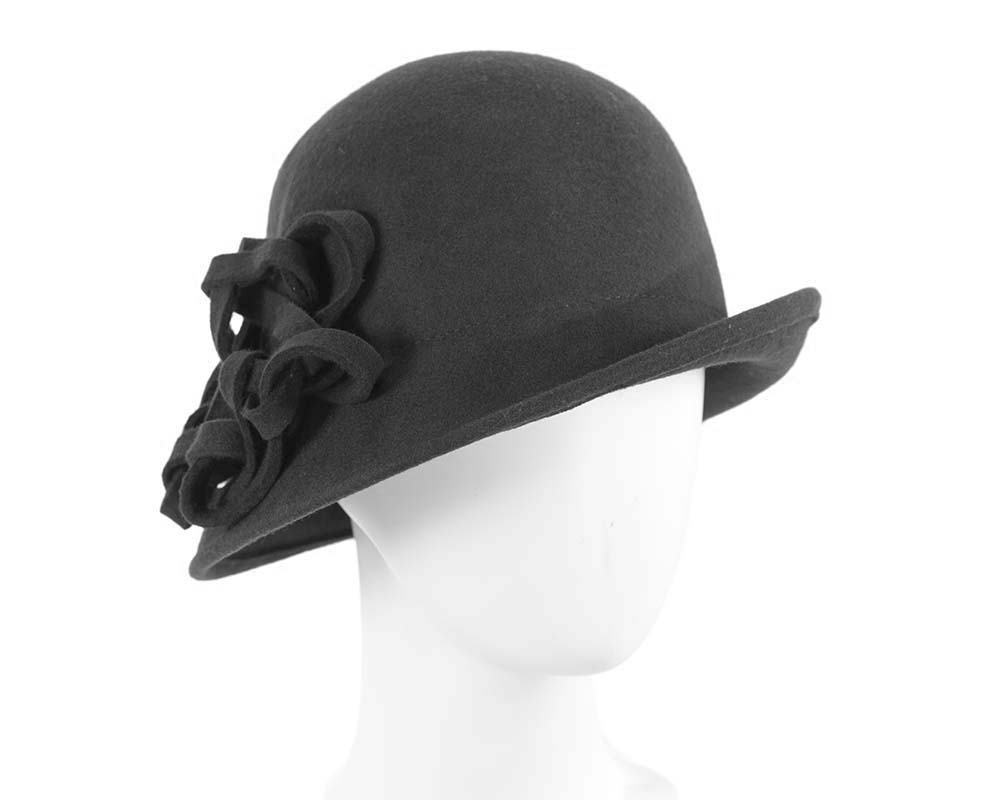 Fascinators Online - Black felt cloche by Max Alexander 6