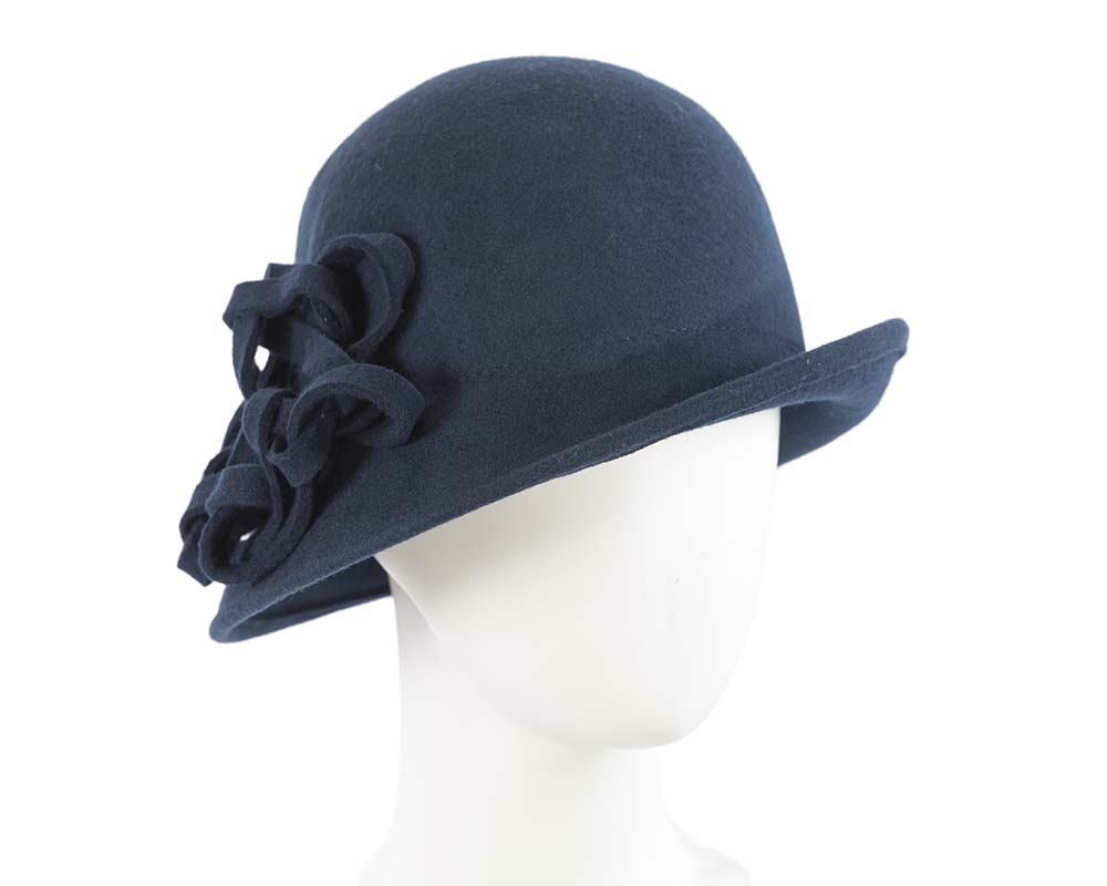 Fascinators Online - Navy felt cloche by Max Alexander 5