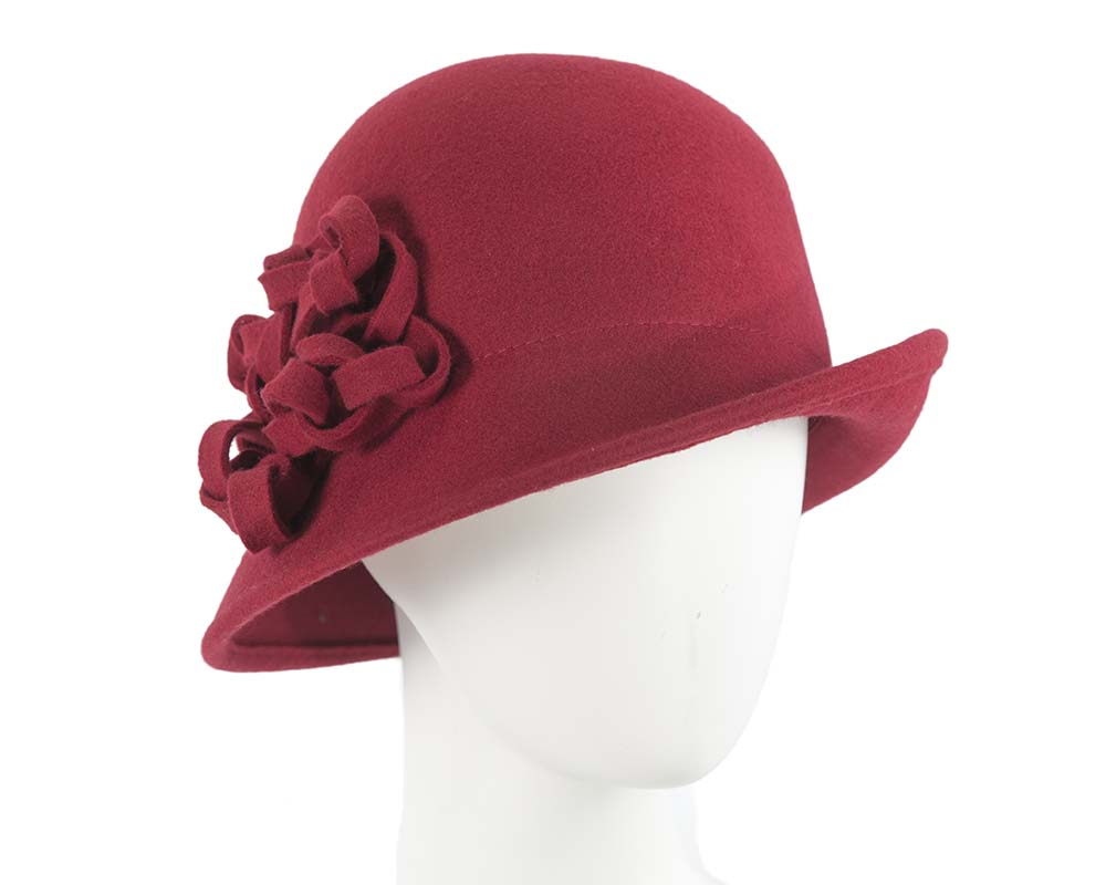 Fascinators Online - Red felt cloche by Max Alexander 4