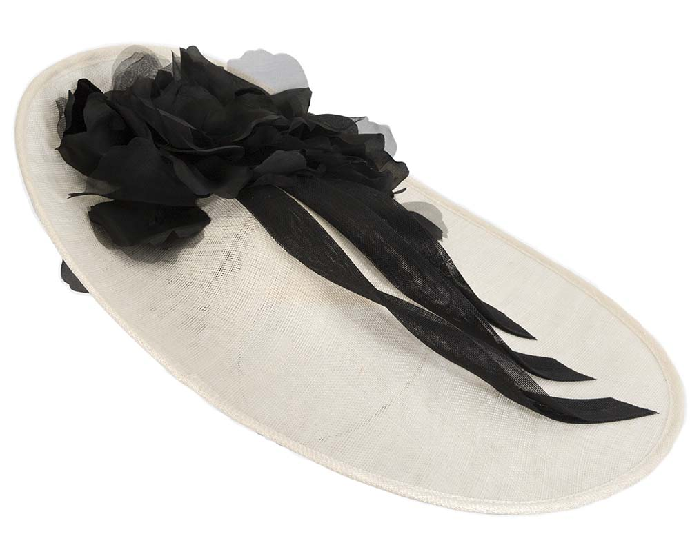 Fascinators Online - Large cream & black plate racing fascinator by Fillies Collection 4