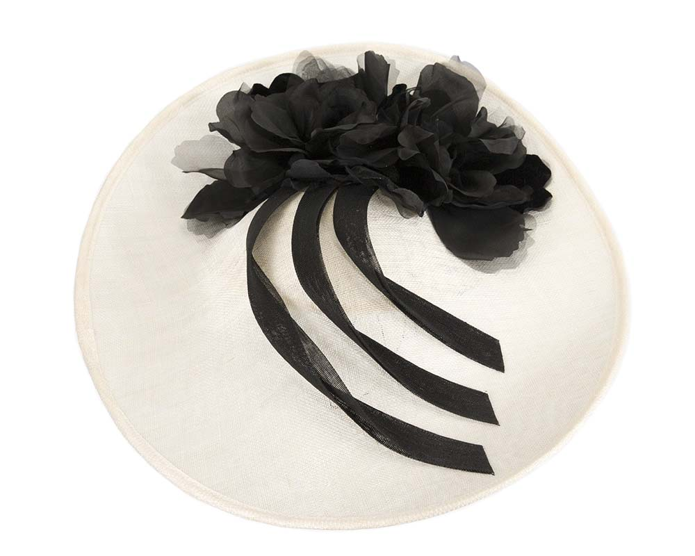 Fascinators Online - Large cream & black plate racing fascinator by Fillies Collection 3