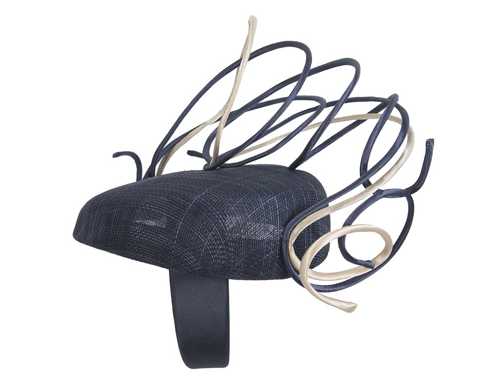 Fascinators Online - Designers navy & nude racing fascinator by Fillies Collection 3