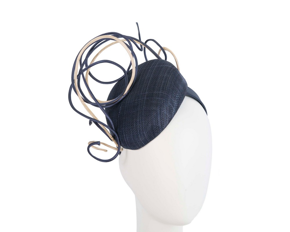 Fascinators Online - Designers navy & nude racing fascinator by Fillies Collection 1