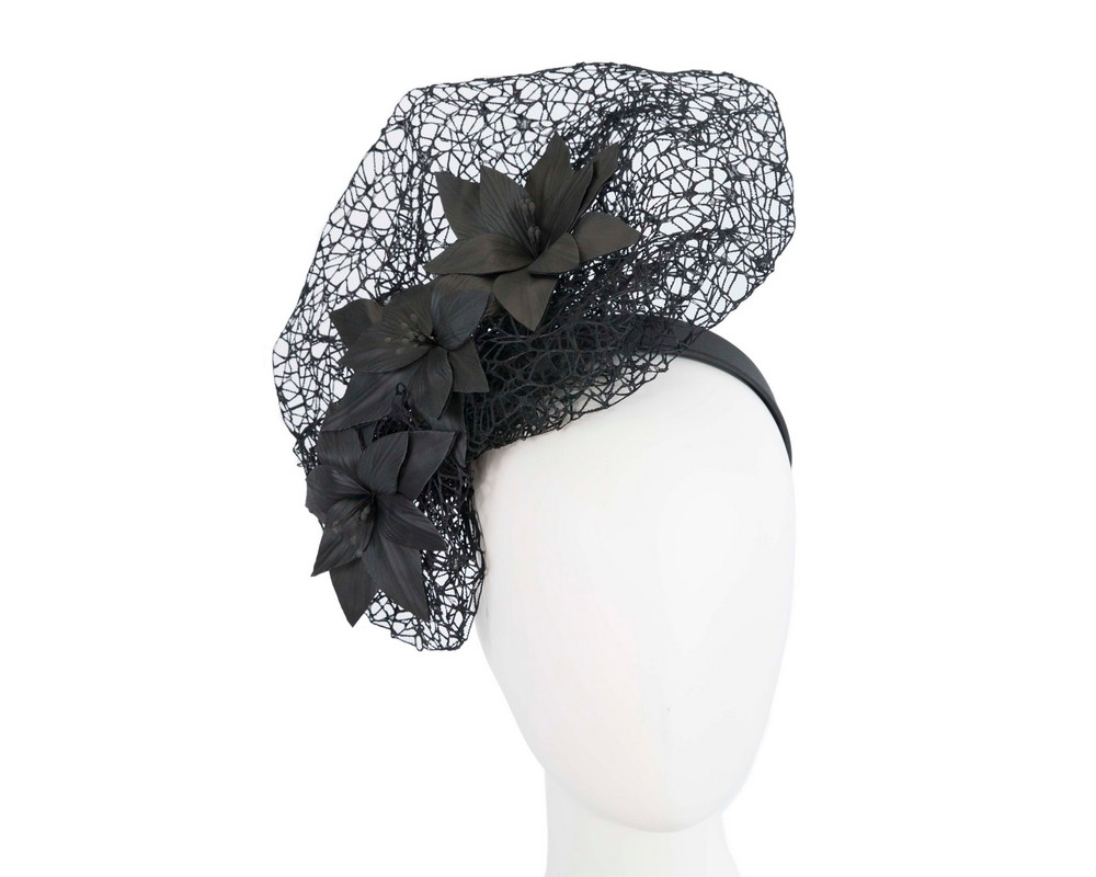 Fascinators Online - Black designers racing fascinator by Fillies Collection 1