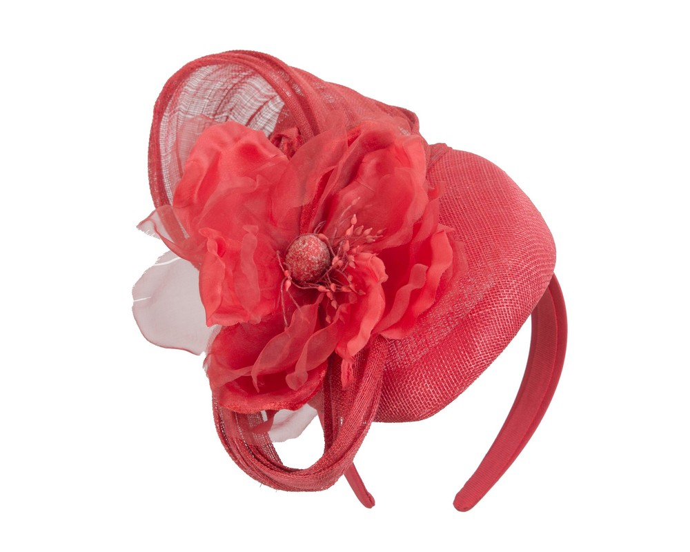 Fascinators Online - Red pillbox fascinator with large flower by Fillies Collection 2