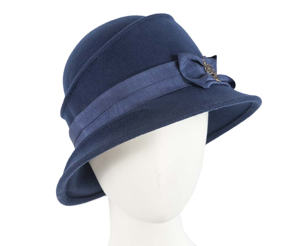 Fascinators Online - Navy ladies felt bucket hat 3